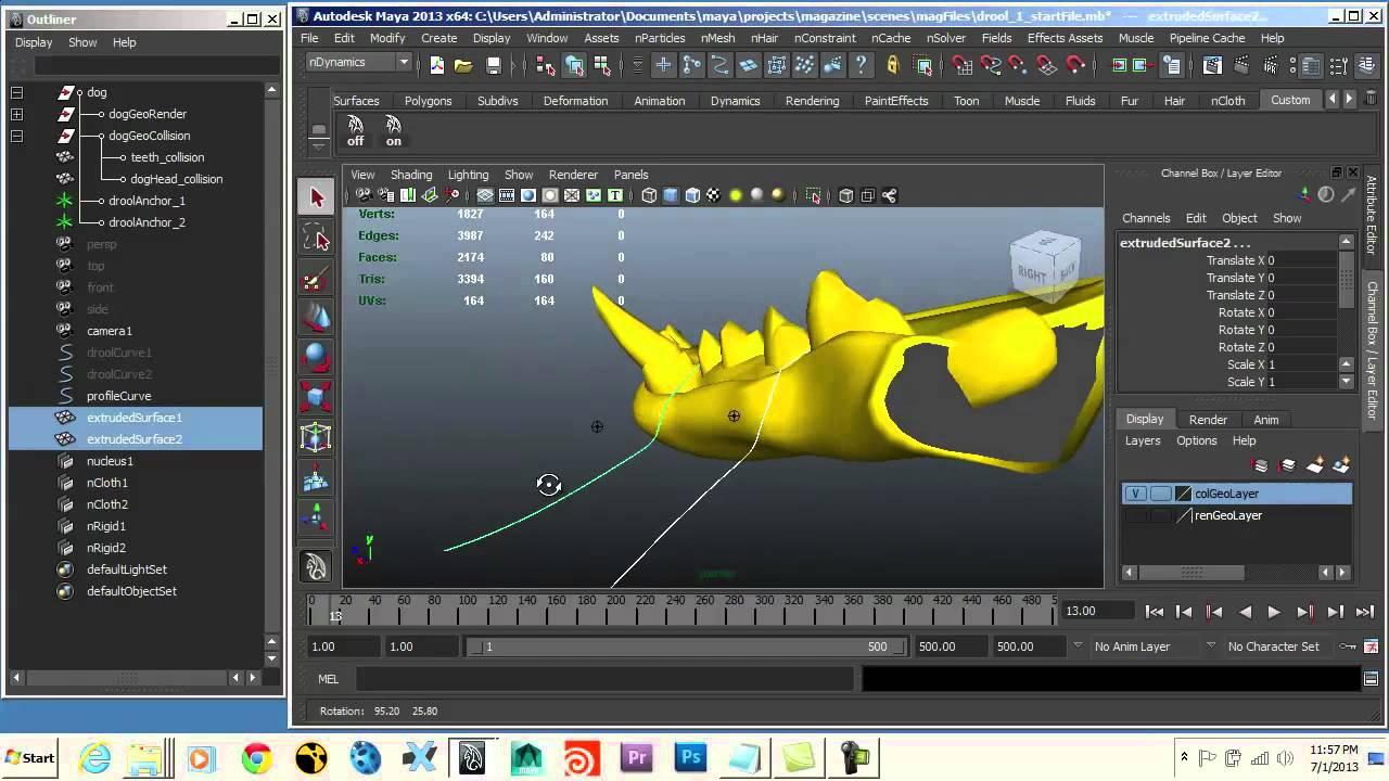 Maya tutorial Animate a viscous liquid effect Part 1