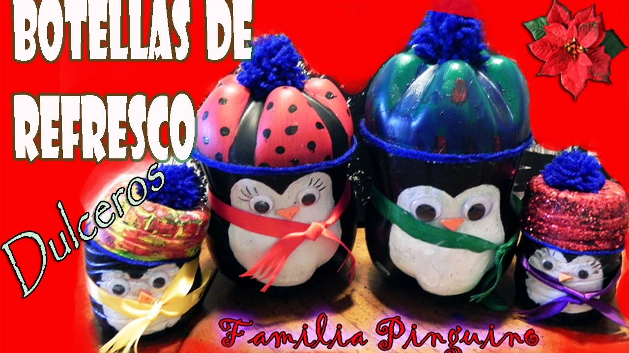 Manualidades navide as dulceros ping ino de botellas de for Manualidades navidenas preescolar