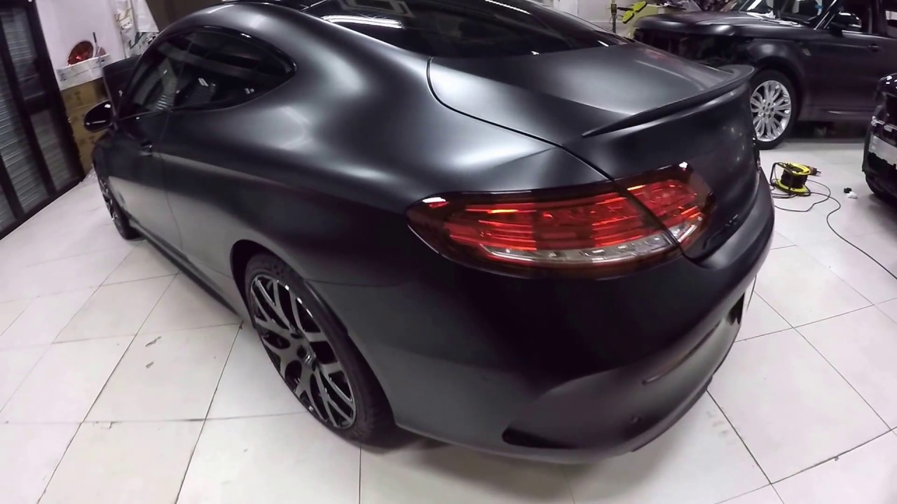 Satin black Mercedes Benz C43 AMG by Wrap Workz Hong Kong ...