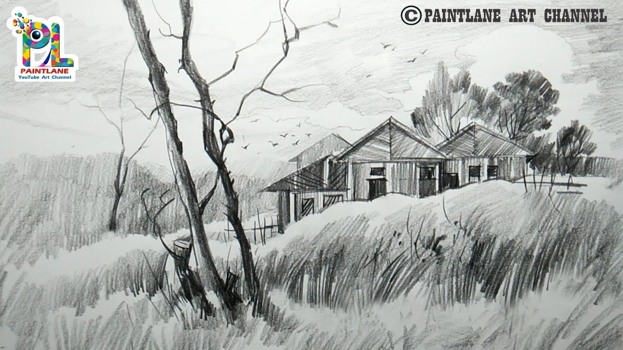 How to draw a landscape with easy rough pencil strokes for beginners simple pencil shading
