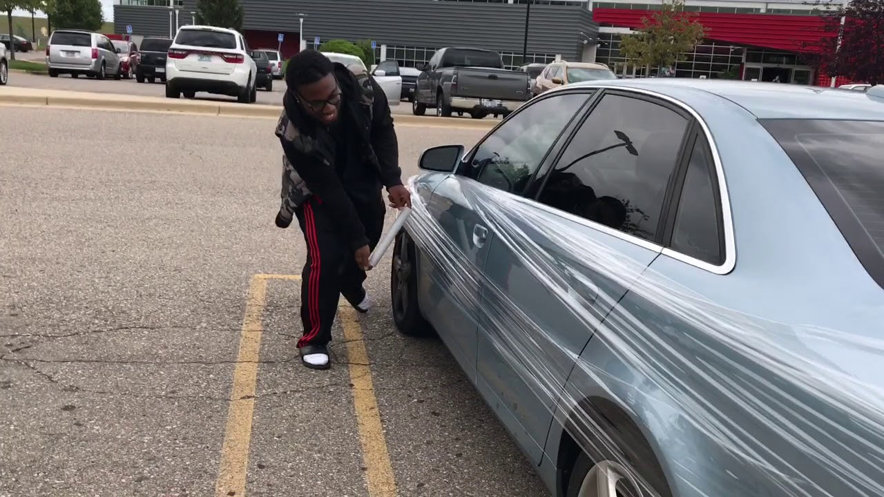 Saran Wrap Car: SARAN WRAP ON CAR PRANK!!!!!!!! (JOEL TV)