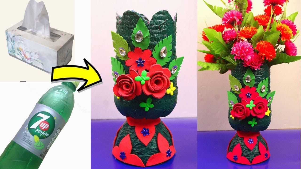 Diy Plastic Bottle And Tissue Paper Flower Vase Plastic Bottle Recycling Idea Easy Craft