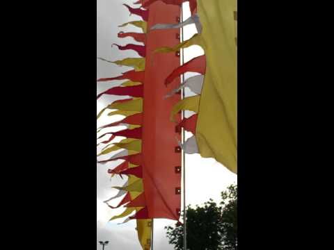 Orange festival flags
