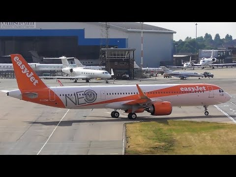 Delivery flight! Easyjet's first Airbus A321 NEO landing at Luton Airport   13-07-18