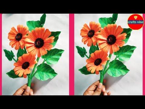 Easy trick: to make Paper Flower/ DIY sunflower bouquet/Crafts Vine