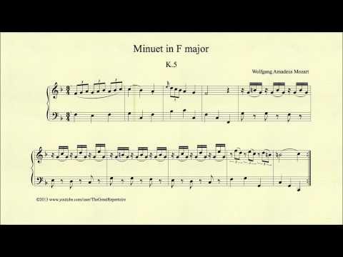 Mozart, Minuet in F major, K 5, Piano