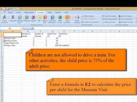 Excel Spreadsheet Sample Assessment TrainTravellers - YouTube