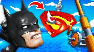 Catching The SECRET BATMAN AND SUPERMAN FISH (Crazy Fishing VR Funny Gameplay)