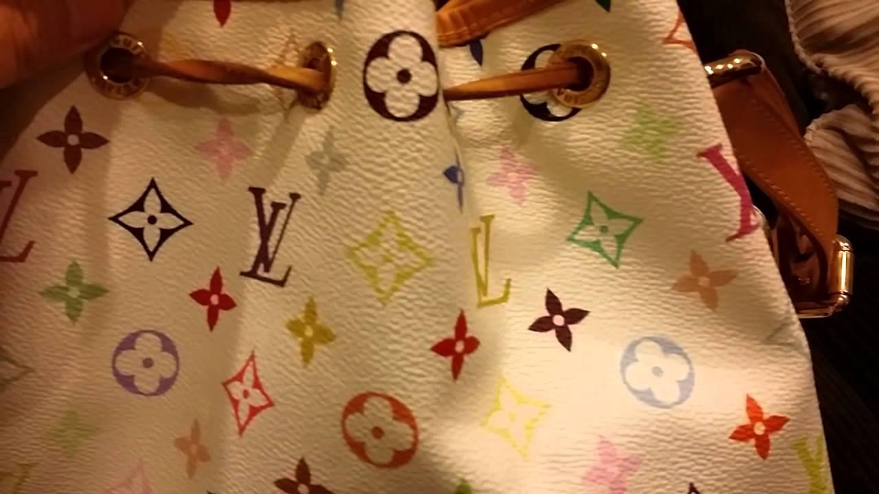 Louis Vuitton Classic  Petit Noe Champagne Drawstring Bag in White  Multicolor b7074868b5a