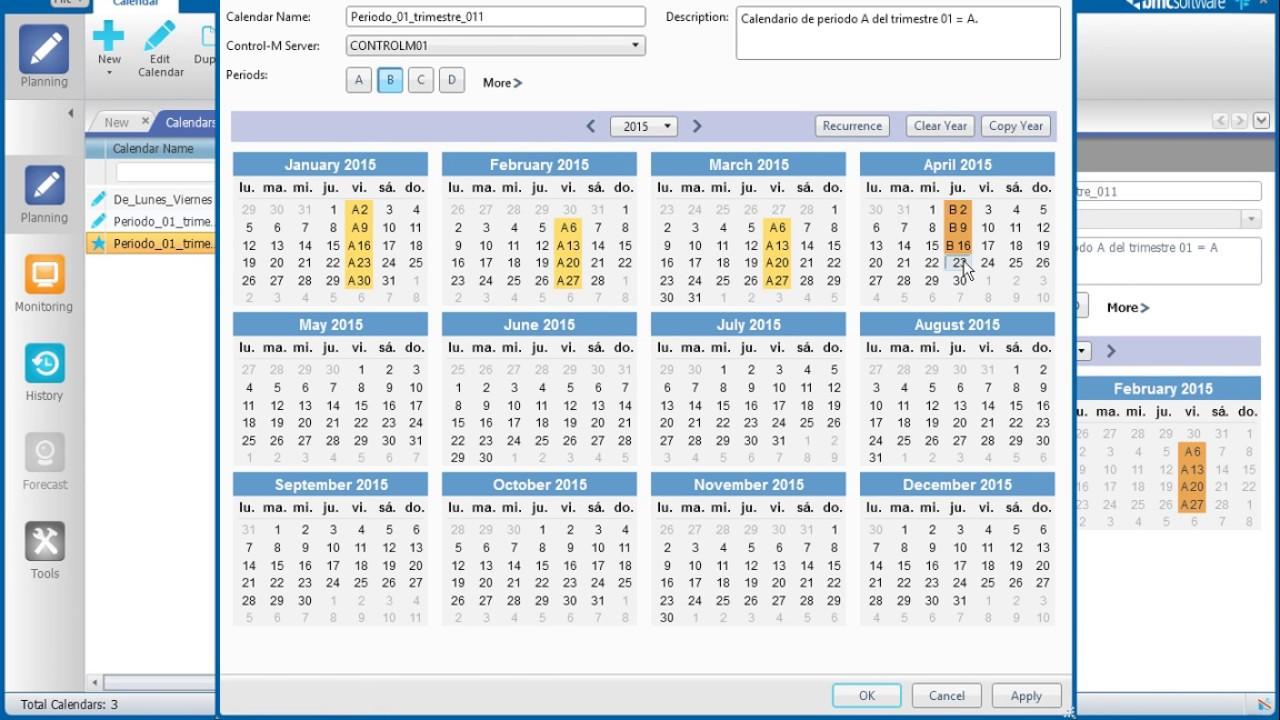 Calendario M.Controlm Bmc Como Crear Un Calendario Periodico En Control M 8
