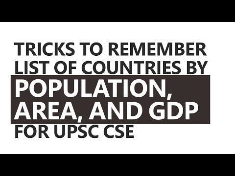 Tricks to Remember Countries by Population, Area, and GDP by Roman Saini [UPSC CSE/IAS, SSC CGL]