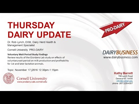 Cornell ProDairy Thursday Dairy Update. Voluntary Wait Period Study