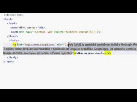 HTML Návod 05   Odkazy A Atributy V HTML