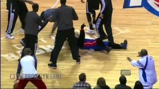 Funny: Nets Players Jump Pistons Mascot