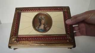 Antique Swiss Music Box With Hand Painted Miniature Portrait