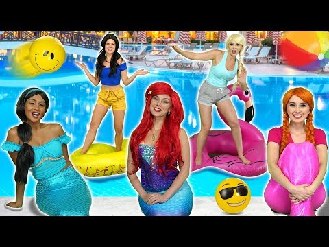 JASMINE'S POOL PARTY WITH ELSA AND ANNA ARIEL AND BELLE Totally TV