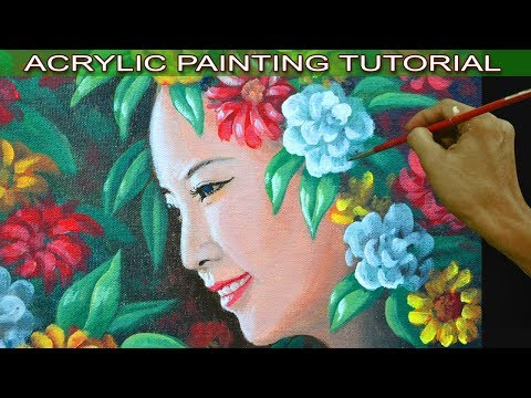 Acrylic Painting Tutorial Portrait of Beautiful Lady with Flowers by JM Lisondra