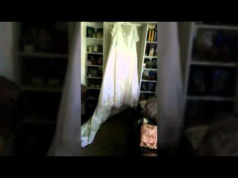 White satin wedding gown never been worn paid $549