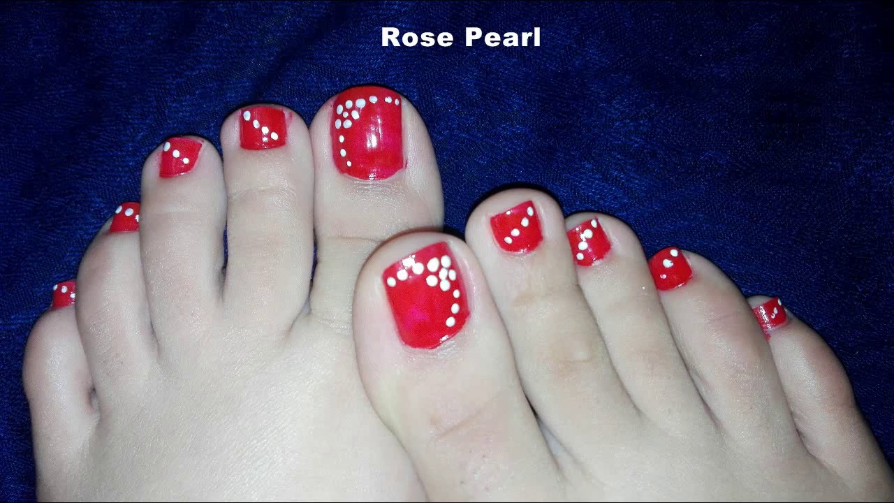 Red Dotted Flower Toe Nail Art Tutorial No Tools Toenail Design Rose Pearl