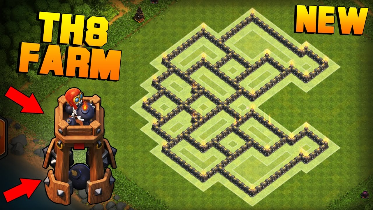 Clash of clans town hall 8 th8 farming base w new bomb tower