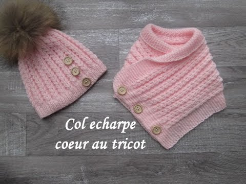 TUTO COL ECHARPE POINT COEUR AU TRICOT Scarf collar knitting