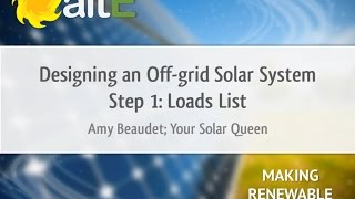 Loads List: Off Grid Solar Power System Design - Step 1