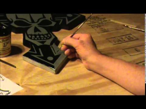 Painting a Gothic Cross and skull