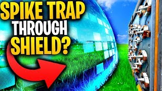Will A SPIKE TRAP KILL YOU THROUGH THE SHIELD BUBBLE WALL? | Fortnite Mythbusters
