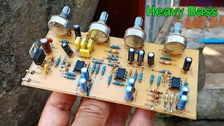 How to make Sound Controller 12VDC 4558D Treble Heavy Bass Circuit at home