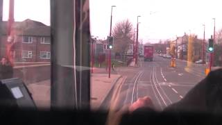 Manchester Metrolink. Ashton to Piccadilly Drivers Eye View. 11/12/13