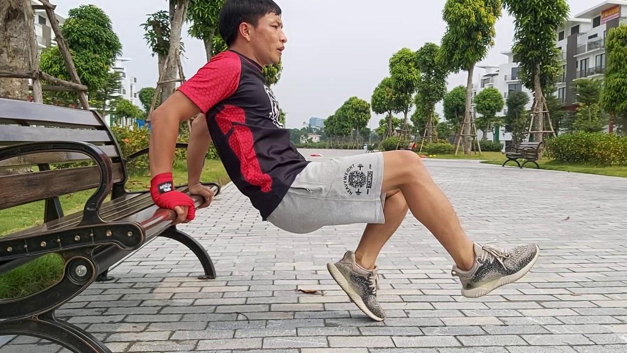 Bài tập với ghế tại công viên, phát triển toàn diện chân, lưng, xô, tay sau / HLV TRẦN TUYỂN