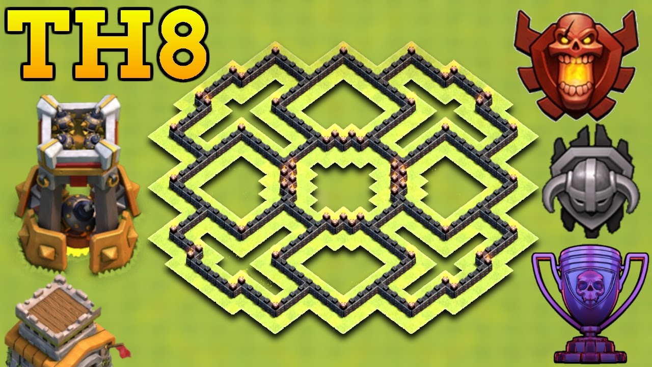 best town hall 8 th8 trophy base 2017 clash of clans youtube