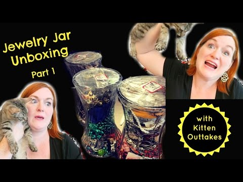 Mega Jewelry Jar Unboxing Part 1 - Finding Gold in Jewelry Jars - Funny Kitten Outtakes