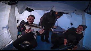 Мартовский ЛЕЩ и Судак в палатке Рыбалка на водохранилище с ночёвкой Март 2021