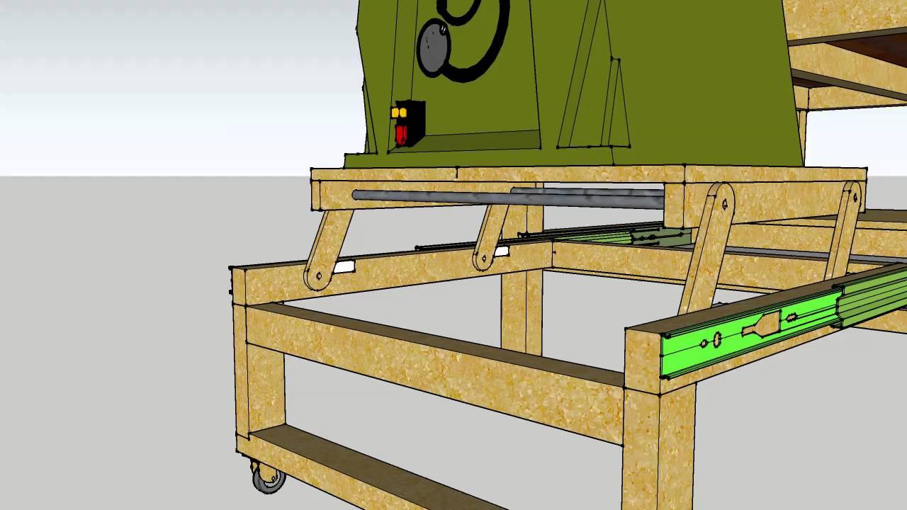 werkbank mit absenkbarer herausziehbarer tischkreiss ge. Black Bedroom Furniture Sets. Home Design Ideas