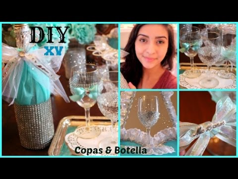How to make your own quinceaera toast cups bottle copas y how to make your own quinceaera toast cups bottle copas y botella youtube solutioingenieria Images