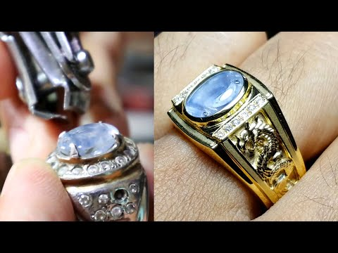 custom jewelry - making a men's saphire gold ring