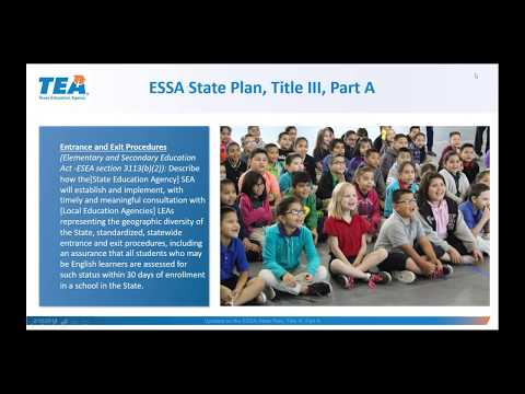Updates on the ESSA State Plan, Title III, Part A Section