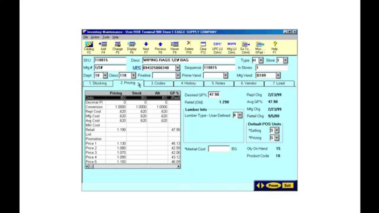 Inventory system of hardware store