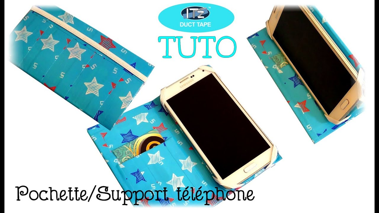 tuto support pochette t l phone en it 39 z duct tape youtube. Black Bedroom Furniture Sets. Home Design Ideas