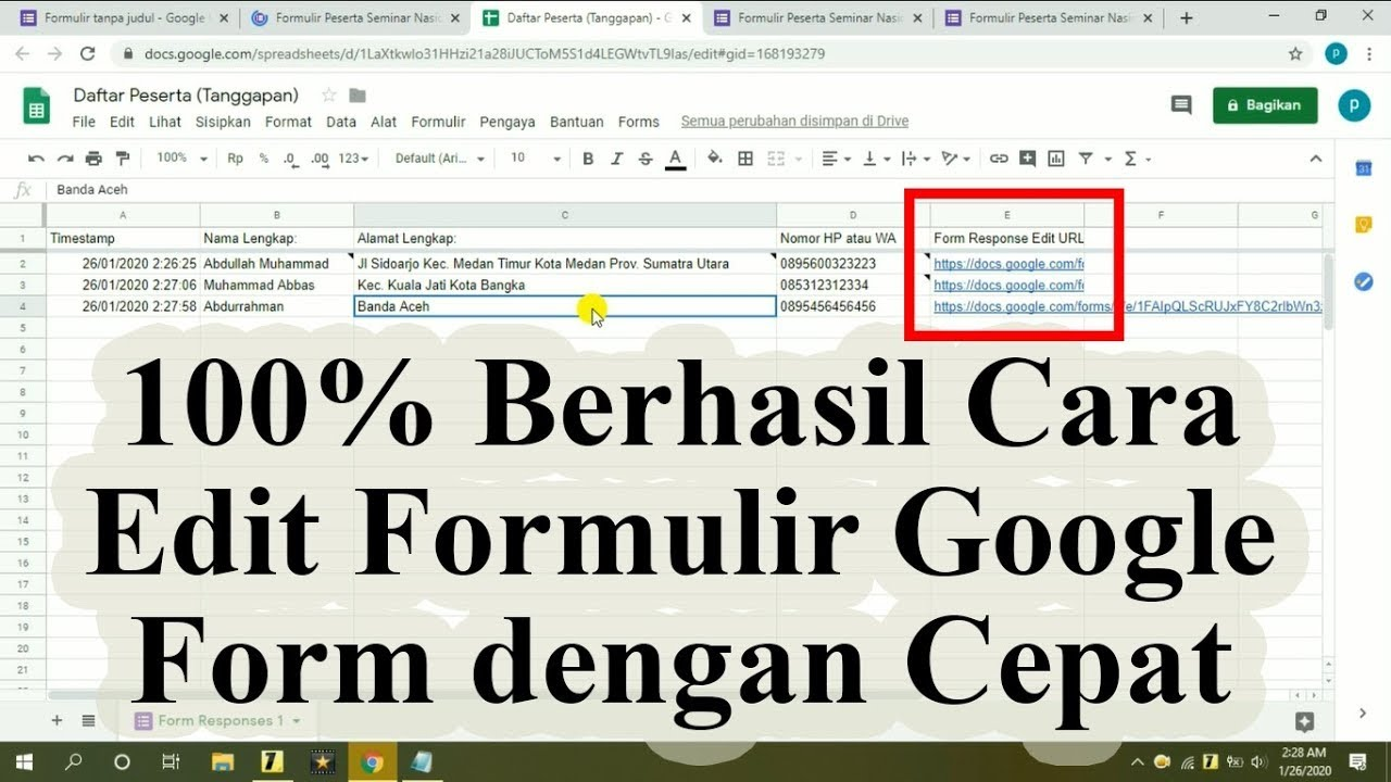 100 berhasil cara edit tanggapan formulir google form dengan cepat di google sheet atau spreadsheet