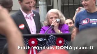 EDITH WINDSOR Speaks to Stonewall Inn Rally Crowd + Crowd Scenes 6.26.13