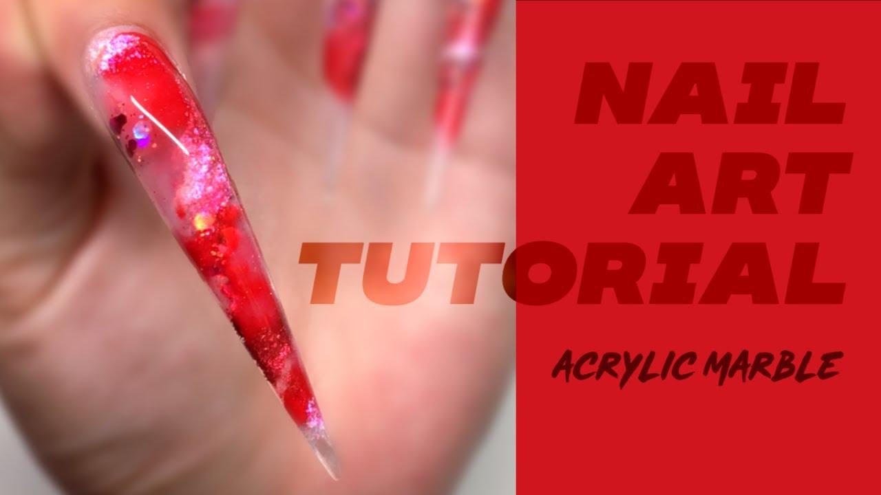 Sculpted nail tutorial - marble nail art ALL ACRYLIC