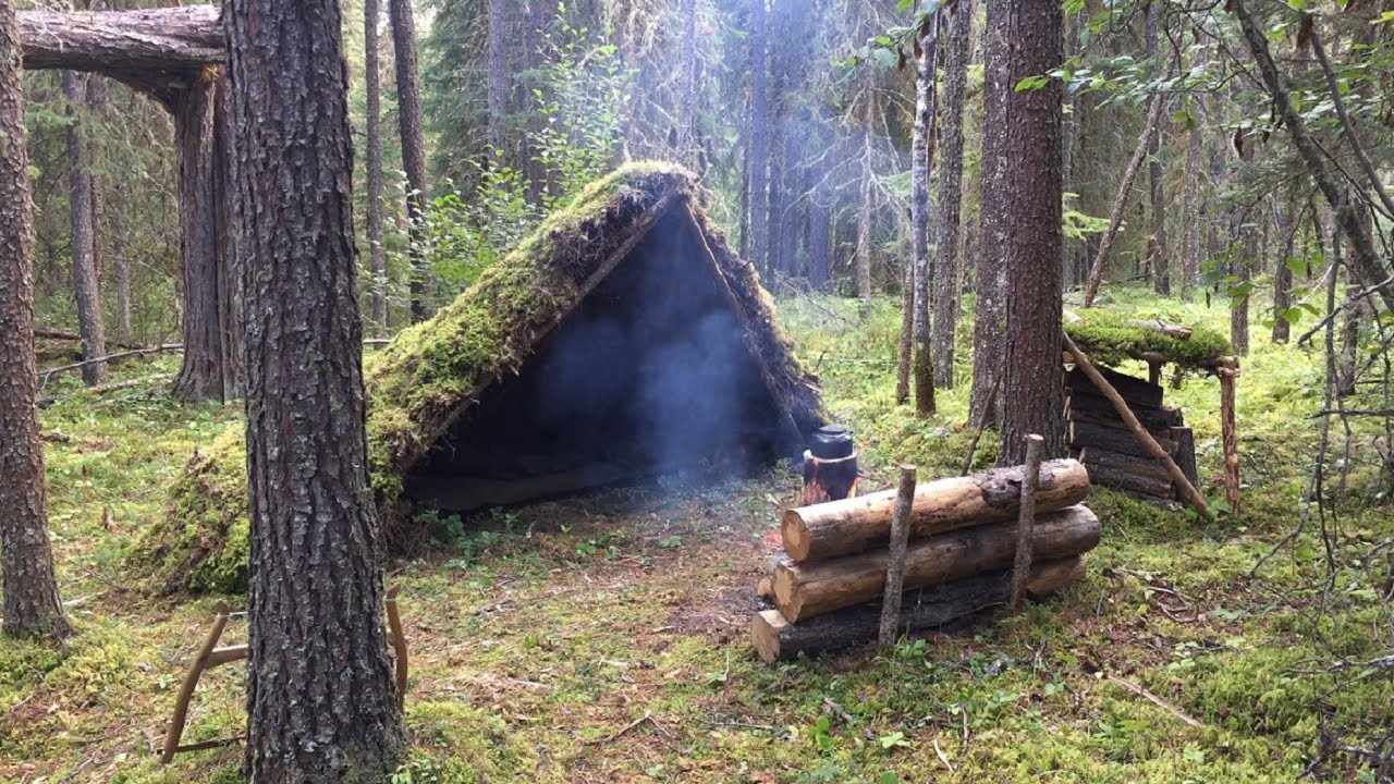 Solo Bushcraft Overnight — Moss Shelter, Natural Spring Water, Firewood Shack, Campfire Cooking