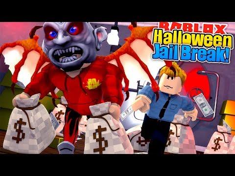 ROBLOX - JAIL BREAK - ROBBING THE BANK IN  MY HALLOWEEN COSTUME!!!