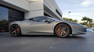 Ferrari 458 Italia Matte Gray Bianco Avus Engine Sound Revs at Prestige Imports Miami