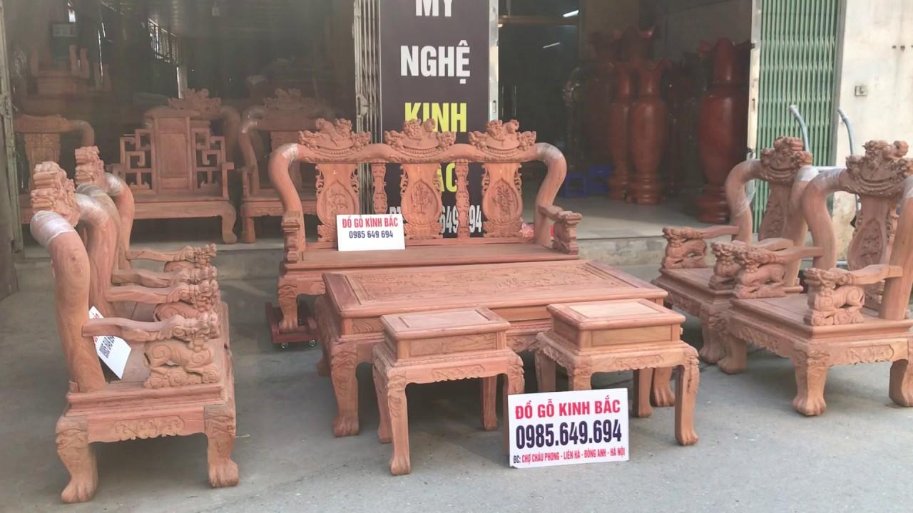 Hàng víp – bộ bàn ghế minh quốc nghê cột 12 – 8 món gỗ Hương Đá | Đồ Gỗ Kinh Bắc