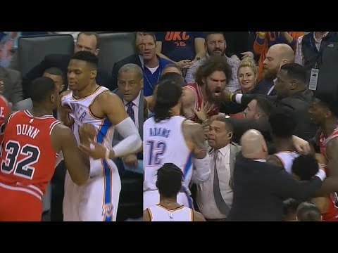 Russell Westbrook Gets Shoved By Kris Dunn Then Jerami Grant & Robin Lopez Get Heated!