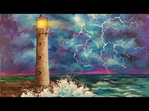 Lighthouse in a Thunderstorm Acrylic Painting Tutorial