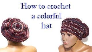 Сrochet hat  - Hw to crochet colorful hat / Шапка - шляпка - Разноцветная шапка крючком